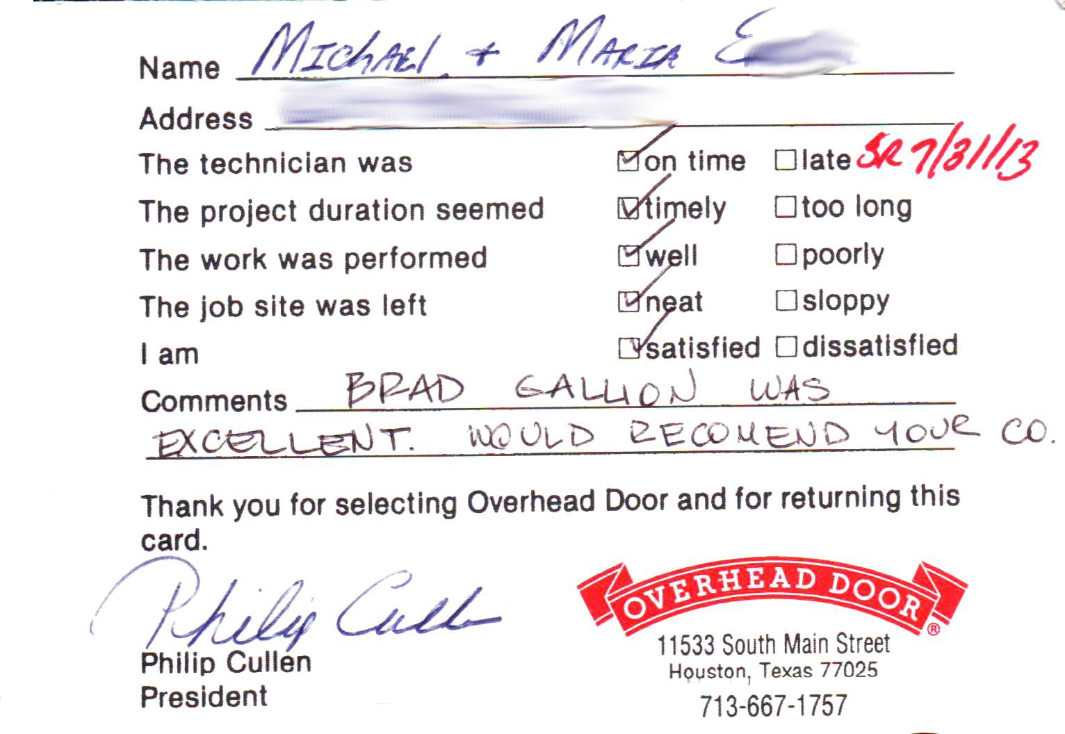 Customer Testimonials Overhead Door Company Of Houston
